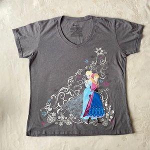 Disney Frozen Size XL Grey T-shirt V-neck